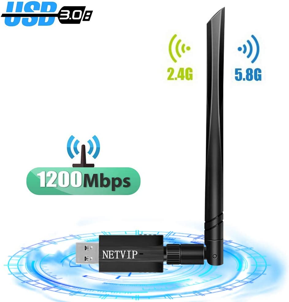 NETVIP WiFi USB Adaptador 1200Mpbs Receptor WiFi Inalámbrico Dual Band 2.4G / 5.8G WiFi Dongle con Antena de 5dBi Receptor Soporte Windows 10/8/8.1/7/Vista/XP,Mac OS