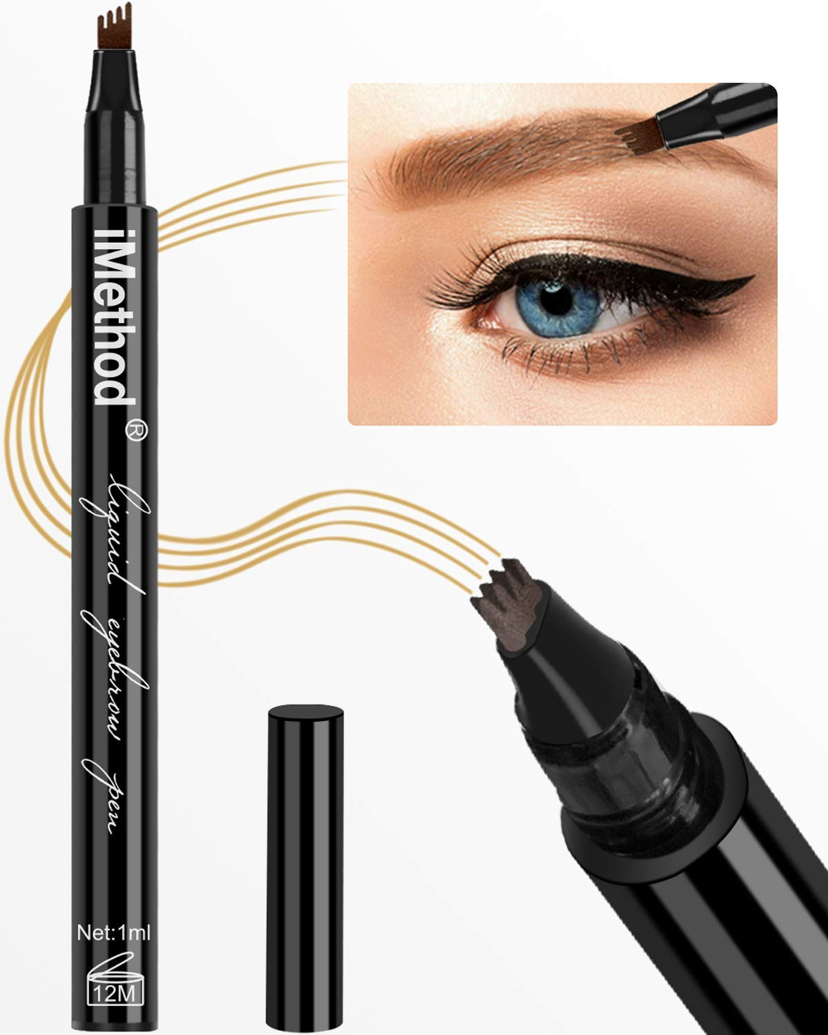 Eyebrow Tattoo Pen - iMethod Microblading Eyebrow Pencil with a Micro-Fork  Tip Applicator Creates Natural Looking Brows Effortlessly and Stays on All