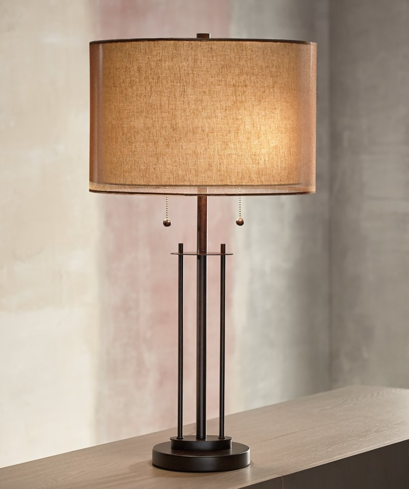 Franklin iron works double shade bronze table lamp amazon geotapseo Gallery