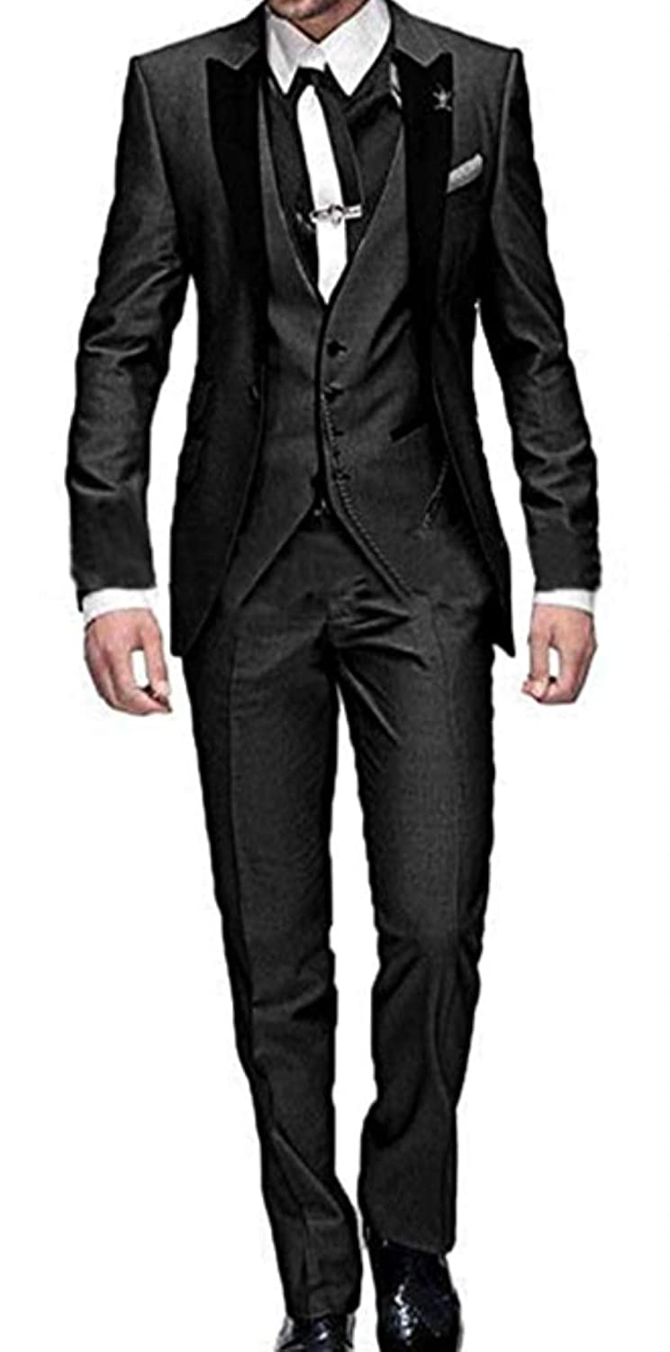 DREFEEL One Button 3 Pieces Wedding Suits Notch Lapel Mens Suits Groom Tuxedos