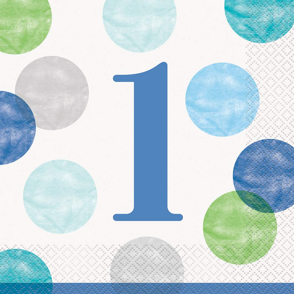 Unique Party 73302 Blue Dots 1st Birthday Paper Napkins Pack of 16 Multi