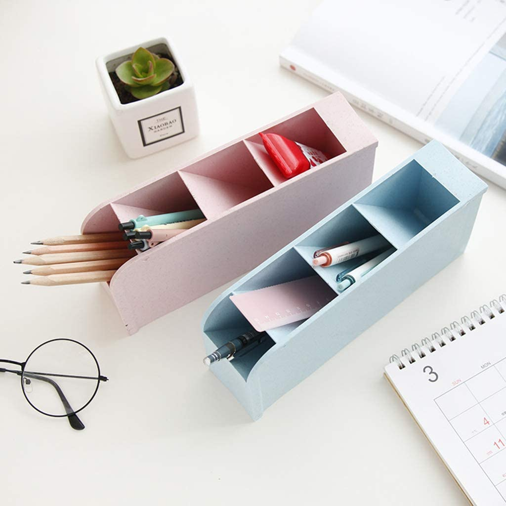 1pc 4 Grid Desktop Pen Holder Storage Case Box Wheat Straw Desk Pencil Organizer