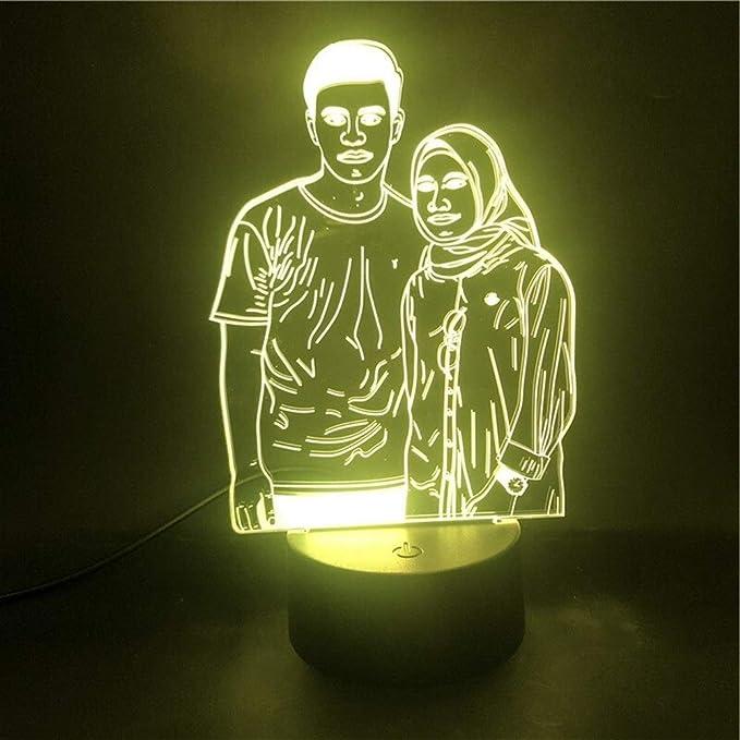 LHOME Lámpara 3D Parejas Retrato de personalización El Despertador Base de luz Nocturna Bastante Recompensa Batería USB llevó la luz de la lámpara (Color : Bluetooth Base): Amazon.es: Hogar
