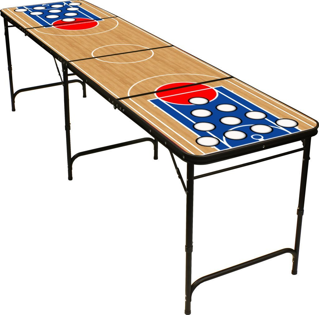 8' Folding Beer Pong Table with Bottle Opener, Ball Rack and 6 Pong Balls - Basketball Design - By Red Cup Pong by Red Cup Pong