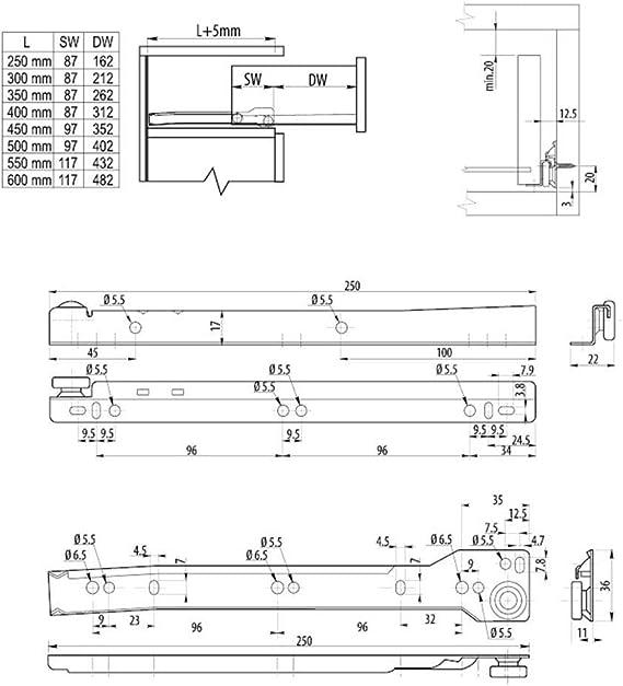 10 X Mprofi MT/® Gu/ías para cajones Gu/ías de Rodillo para caj/ón extracci/ón parcial L 400mm 10 Pares