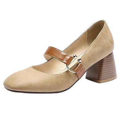 UH Damen Mary Jane Pumps Glitzer Chunky Heels Bequeme Square Toe Schuhe