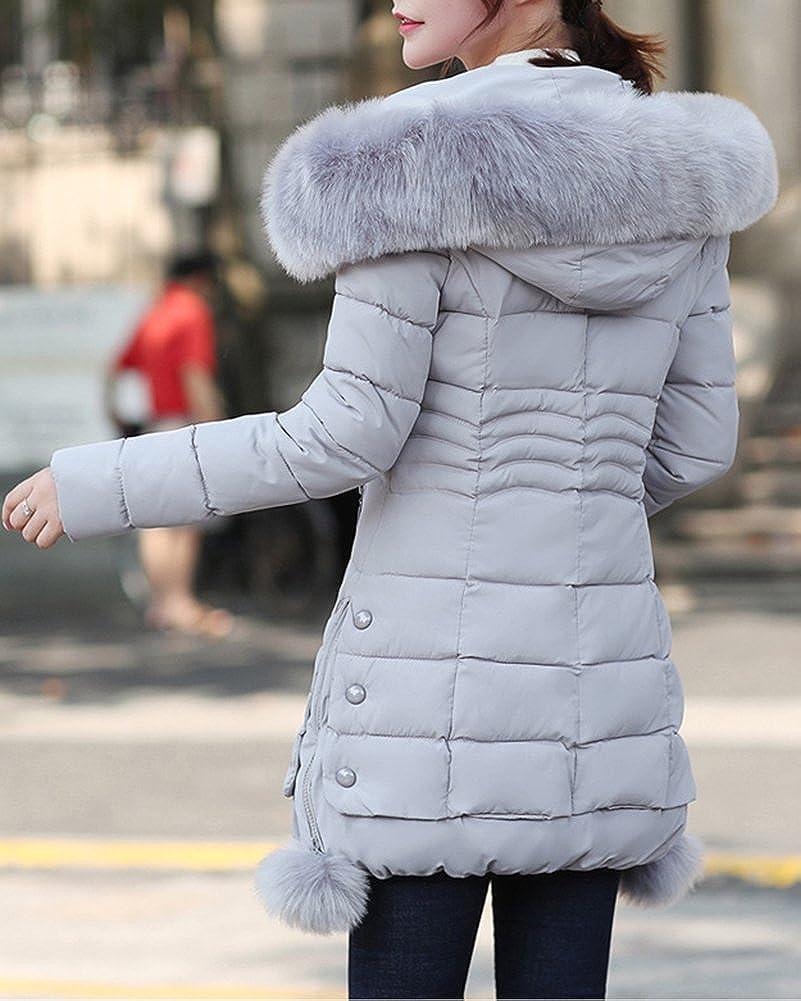 DianShao Mujer Chaqueta Larga De Elegante Abrigo De Algod ó n Cremallera  Outwear con Capucha e9c2a1bc752