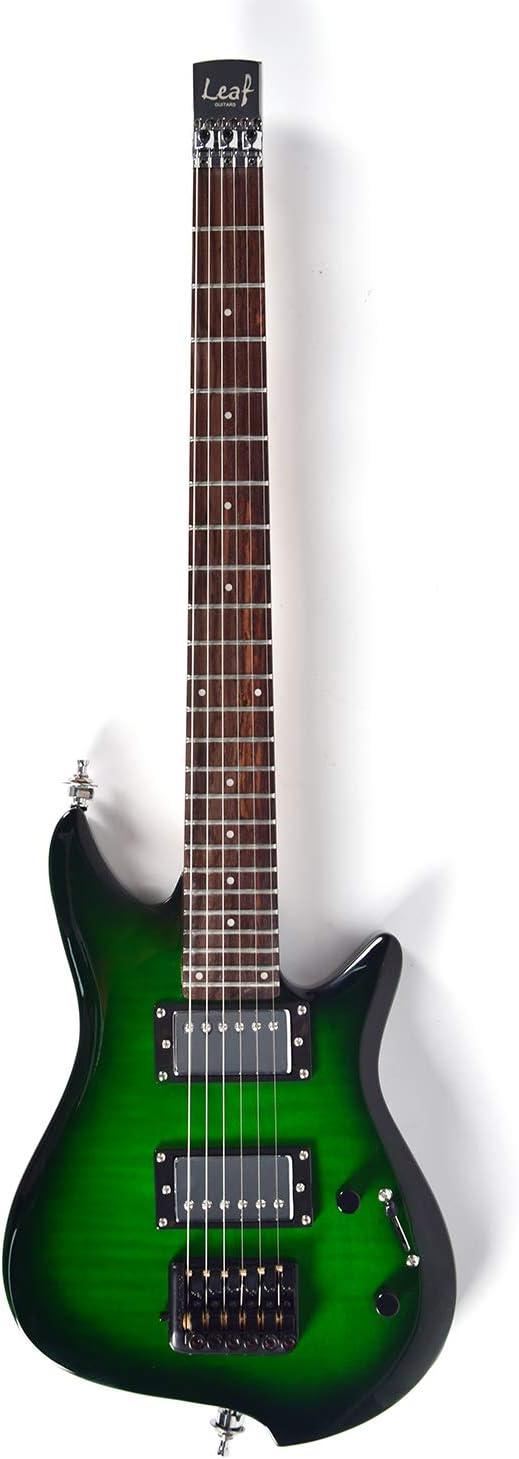 Asmuse Guitarra Eléctrica sin Cabeza, Guitarra LEAF pequeña de Escala Completa, Ultra-ligero para Viajes y Presentaciones-Verde: Amazon.es: Instrumentos musicales