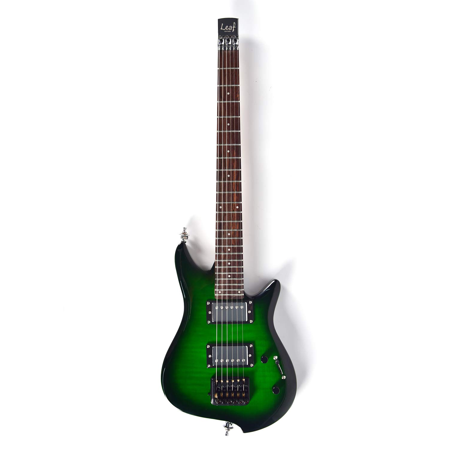 Asmuse Headless Electric Guitar Overhead Travel Guitar Small But Full-scale LEAF Guitar Ultra-Light For Travel and Performance Green by Asmuse