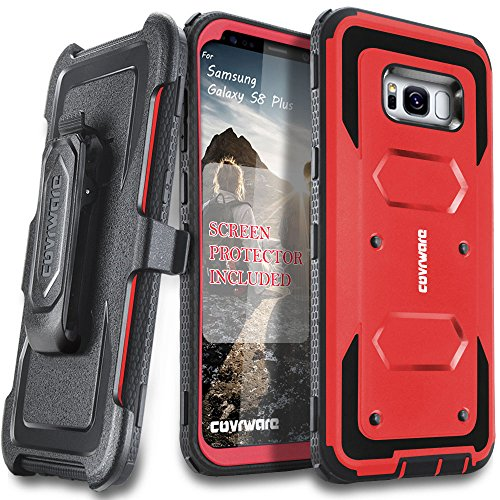 Samsung Galaxy S8 Plus Case, [Aegis Series] + Full-Coverage Screen Protector, Heavy Duty Rugged Full-Body Armor Holster Case [Belt Swivel Clip][Kickstand] for Samsung Galaxy S8 +, Red
