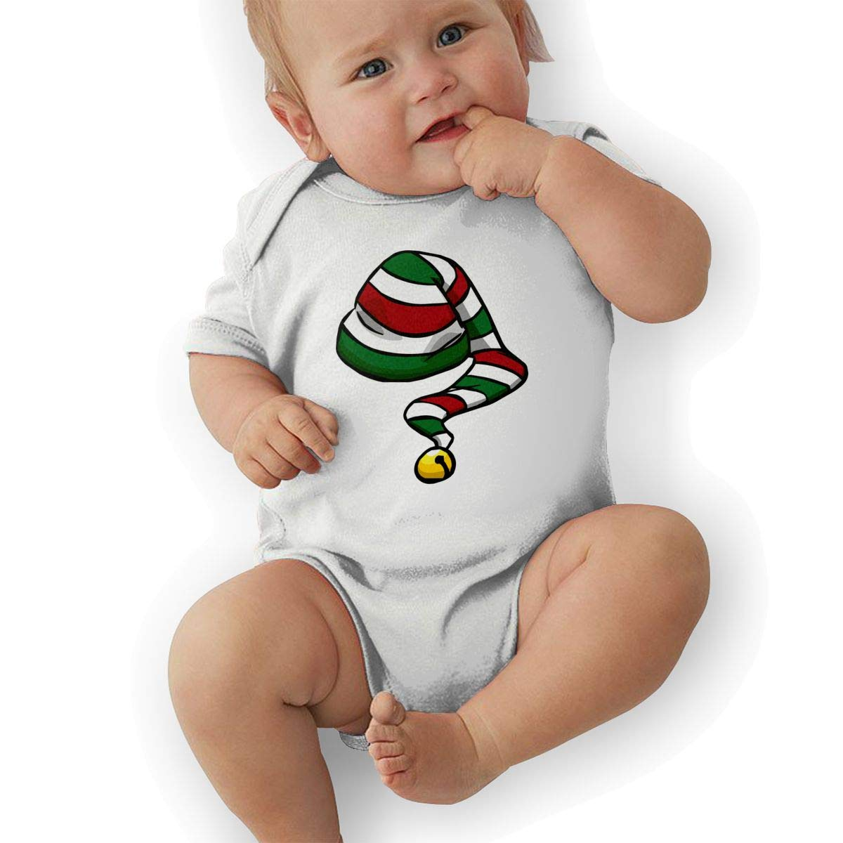 Infant Baby Girls Bodysuit Short-Sleeve Onesie Candy Cane Hat Print Rompers Winter Pajamas