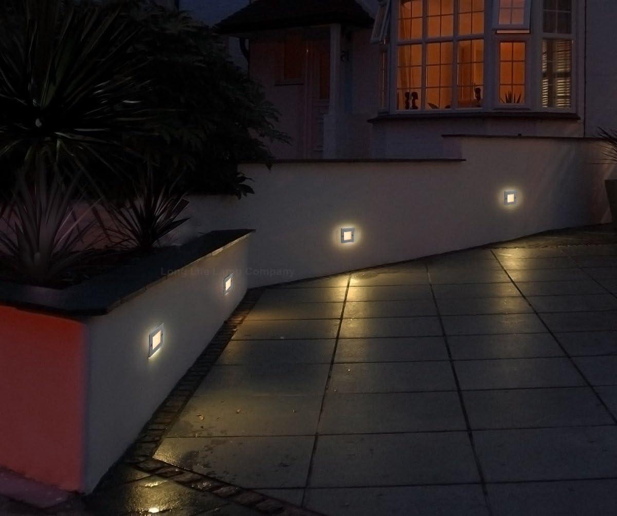 4 X Mini Brick Light LED Outdoor Step Light 70mm Square IP54 BLUE Recessed Wall