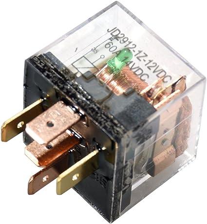 Ehdis DC 12V 60A 1NO SPST Cargador de 4 Pines para Cargador de Carga Pesada Cargador de Carga Transparente Paquete de 5