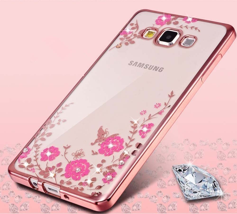 Samsung Galaxy J7 Case,Inspirationc [Secret Garden] Rose Gold and Pink TPU Plating Clear Shiny Cover Series for Samsung Galaxy J7 2016--Swarovski