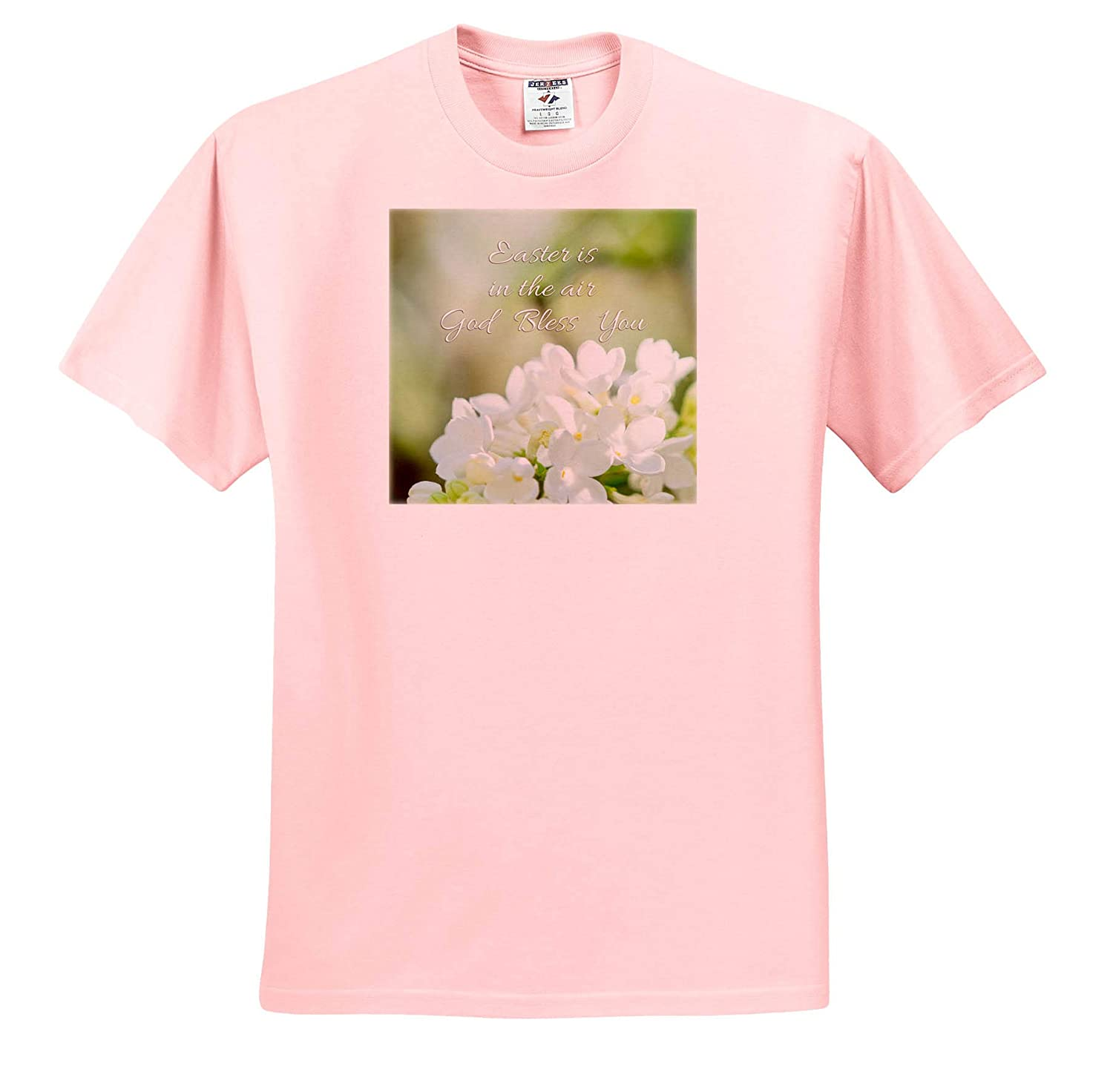 Holidays Easter Easter is in The air God Bless You Text and White Lilac Flowers T-Shirts 3dRose Alexis Photography