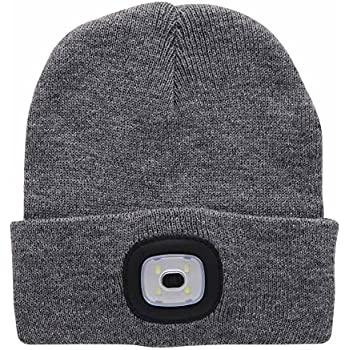695c3200929 theeasyhomelife Bright Knit 4 LED Lighted Beanie Cap USB Rechargeable Headlamp  Hat (Grey)