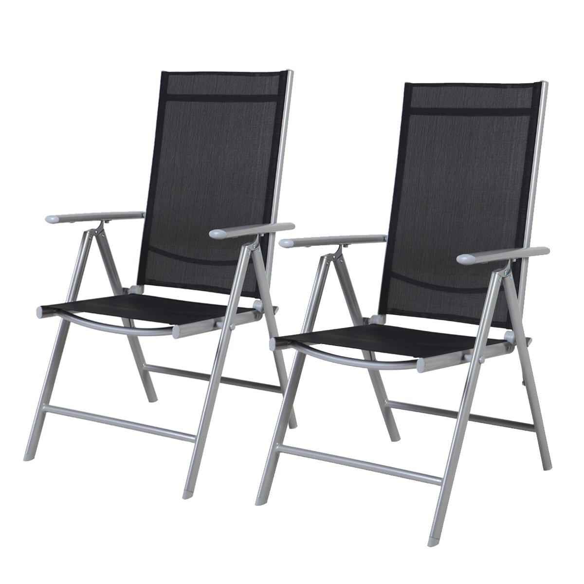 Grand Patio 2-er Set Stuhl, 7-Fach verstellbar Klappsessel, Gartenstuhl, Hochlehner für Terrasse Multipositionssessel, Balkon Möbel, anthrazit, Schwarz