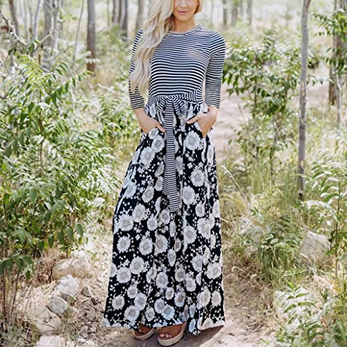 Damen Ärmellos Lang Streifen Kleid Maxikleid Abendkleid Strandkleid Bodycon Mode