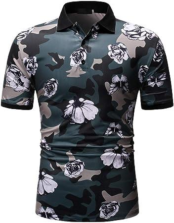 New Polo Shirt Flower Print Slim Fit Fashion Short Sleeve Summer Tops Polo Shirt