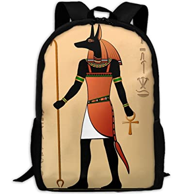 Egyptian Murals Anubis Unique Outdoor Shoulders Bag Fabric Backpack Multipurpose Daypacks For Adult