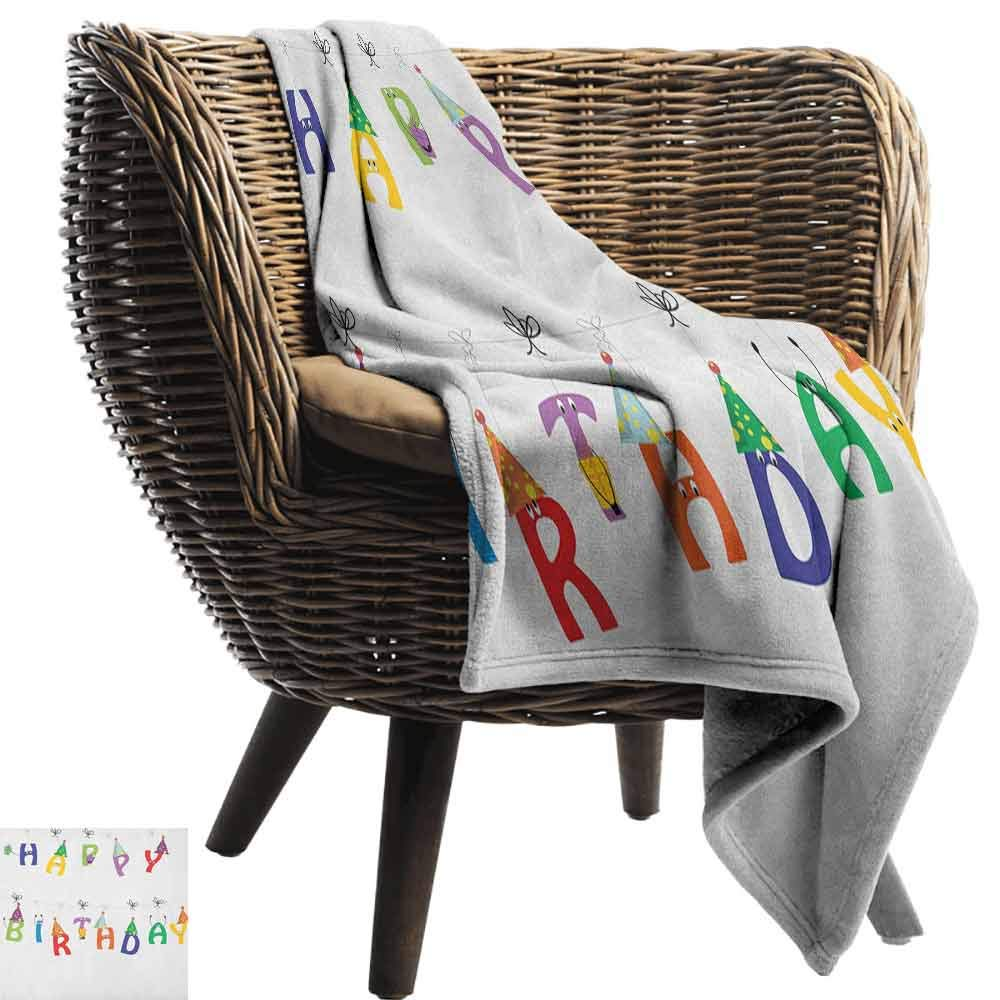 Birthday Chunky Knit Blanket,Celebration Cute Colorful Letters on Ropes Funny Faces Pointy Party Hats for Kids Microfiber All Season Blanket for Bed or Couch Multicolor,60'' Wx80 L Multicolor by Custom&blanket (Image #2)