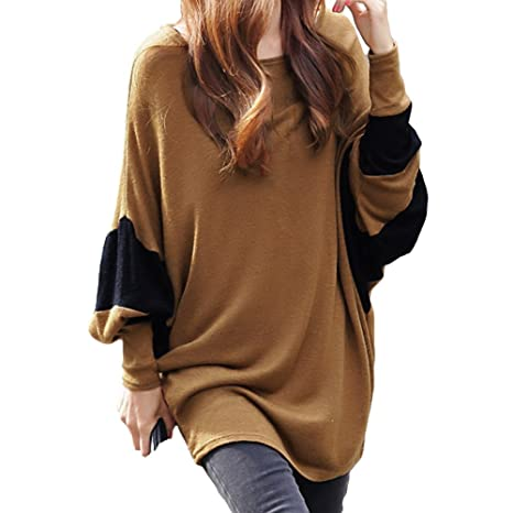 Women Tops Contrast Batwing Sleeve Camisetas Long Loose Pullover Blusas Femininas Brown