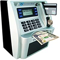 GoodsFederation Electronic ATM Savings Bank Digital Piggy Money Bank Machine,Electronic Cash Box with Debit Card,Password Login,Voice Prompt,Coin Recognition,Targets Setting (Sliver/Black)