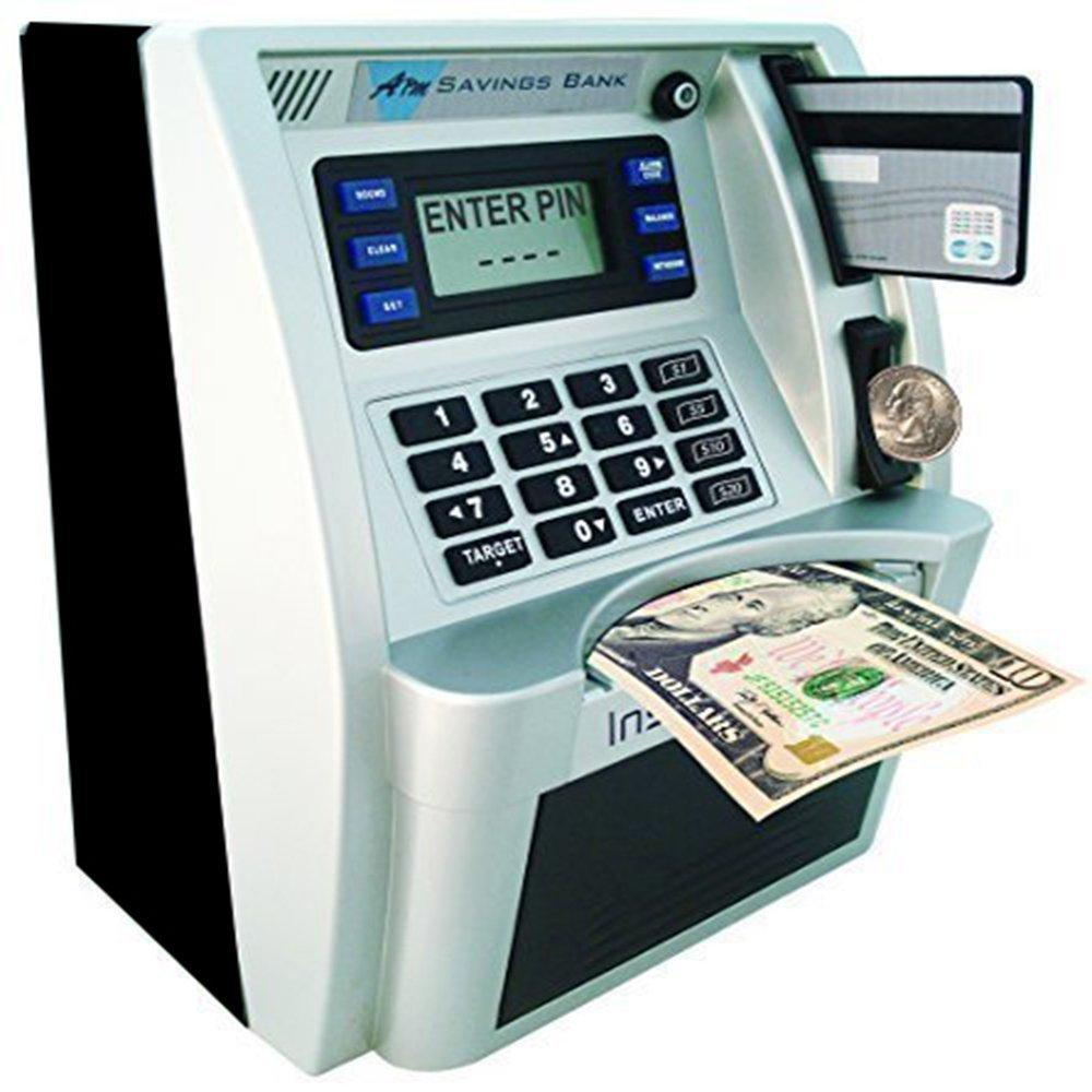 ATM Savings Bank, Personal ATM Cash Coin Money Savings Piggy Bank Silver/Black Machine