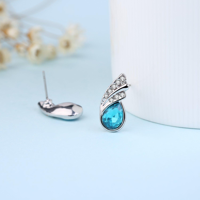 Rolicia Rolling Waterdrop Silver Plate Blue Czech Crystal 1.8*0.8 cm Earrings Drops Studs Swarovski Design Gift Box fnx31m