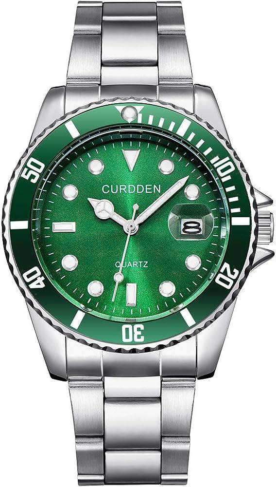 DAYLIN Relojes Hombre Grandes Esferas Negocios Reloj Militar Deportivo Calendario Reloj de Pulsera de Cuarzo Reloj Mecanico Automatico Esfera Negro/Azul/Verde Regalos Dia del Padre