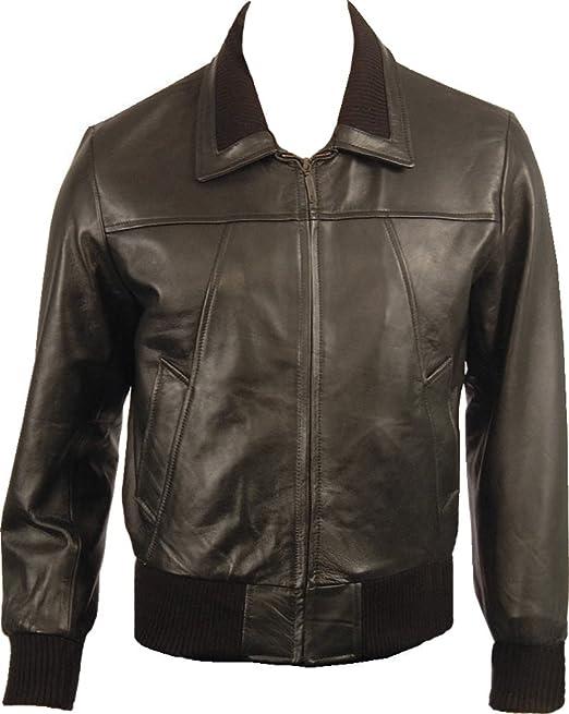 New 70/'s Retro Bomber Jacket Mens Black Classic Soft Leather Jacket