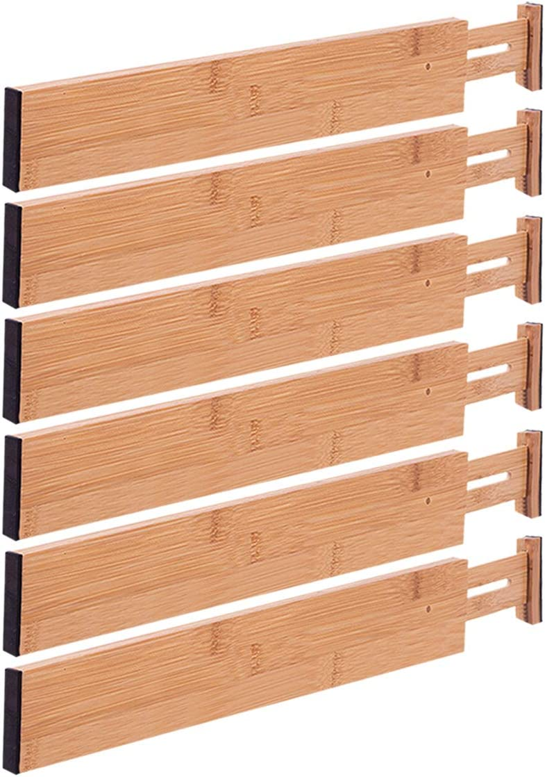Bathroom and Office 12-17 in Dresser Adjustable Drawer Divider for Clothes Bedroom 4-Pack Kitchen Drawer Organizer Ryqtop Bamboo Drawer Dividers Organizers Kitchen Primary