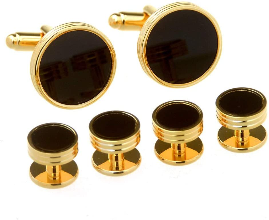 Gold Color : Special feet, Size : One Size XUROM-Jewellery Mens Cufflinks Mens Cufflinks Cuffs Round Black Ony Cufflinks Six-Piece High-end Cufflinks Set Business Wedding Gifts
