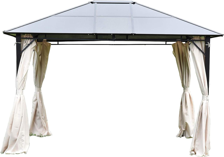 UEnjoy - Cenador Permanente de Aluminio y Acero, con Cortinas de poliéster y Tapa Dura, 30, 48 cm x 25, 4 cm: Amazon.es: Jardín