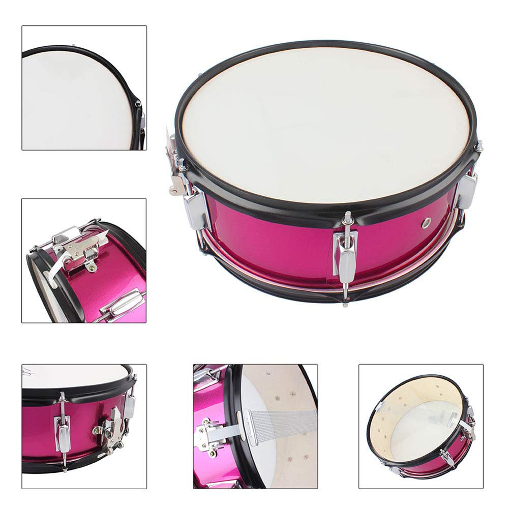 MG.QING Small Snare Drum 14 inch Professional Snare Drum Student Band with Drumsticks, Straps, Tuning Key,Pink by MG.QING (Image #6)