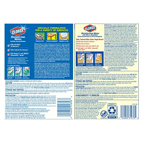 Clorox Disinfecting Wipes and Clorox Disinfecting Wipes with Micro-Scrubbers, 220 Count (Packaging May Vary)
