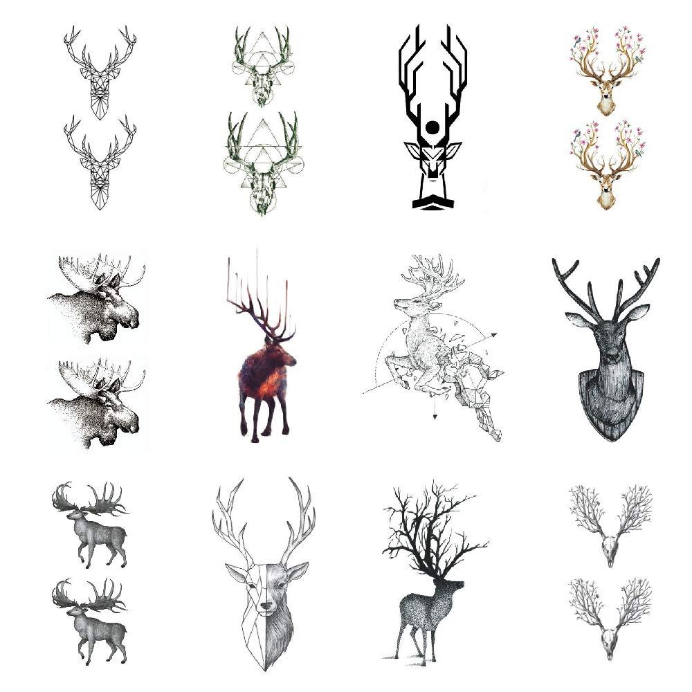 SanerLian Elk Moose Temporary Tattoo Sticker Deer Fake Tatoo Adult Men Women Back Chest Arm Hand 10.5X6cm Set of 12
