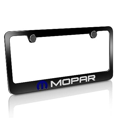 CarBeyondStore Mopar Logo Black Metal License Plate Frame: Automotive