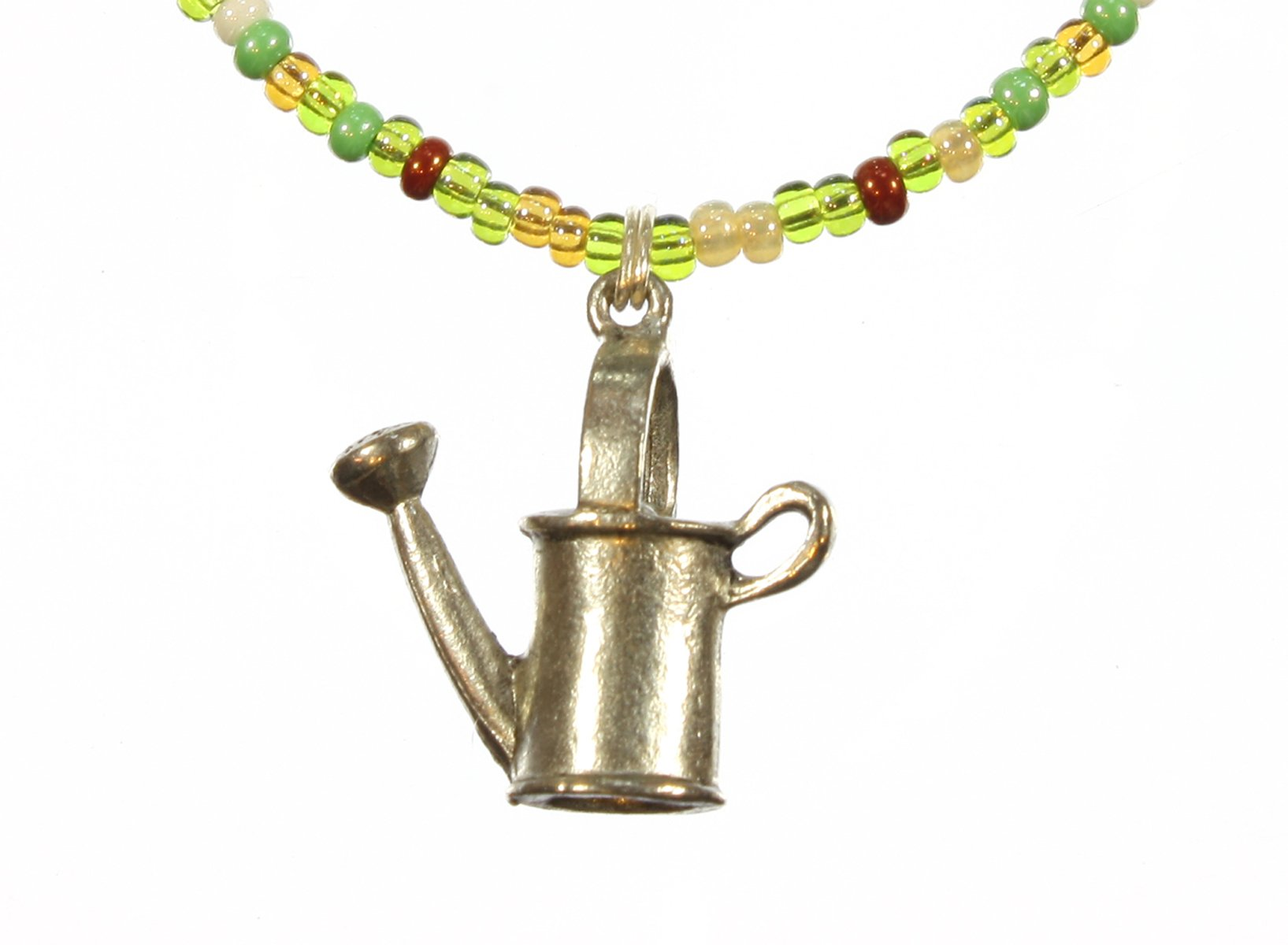 ''She Loves Gardening'' Watering Can Charm Green Short Necklace, 18 Inches Adjustable