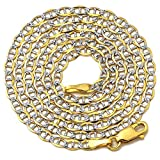 "LoveBling 10K Yellow Gold 3mm Solid Pave Two-Tone Mariner Chain Necklace with Lobster Lock 18"", 20"", 22"", 24"", 26"", 28"", 30"""