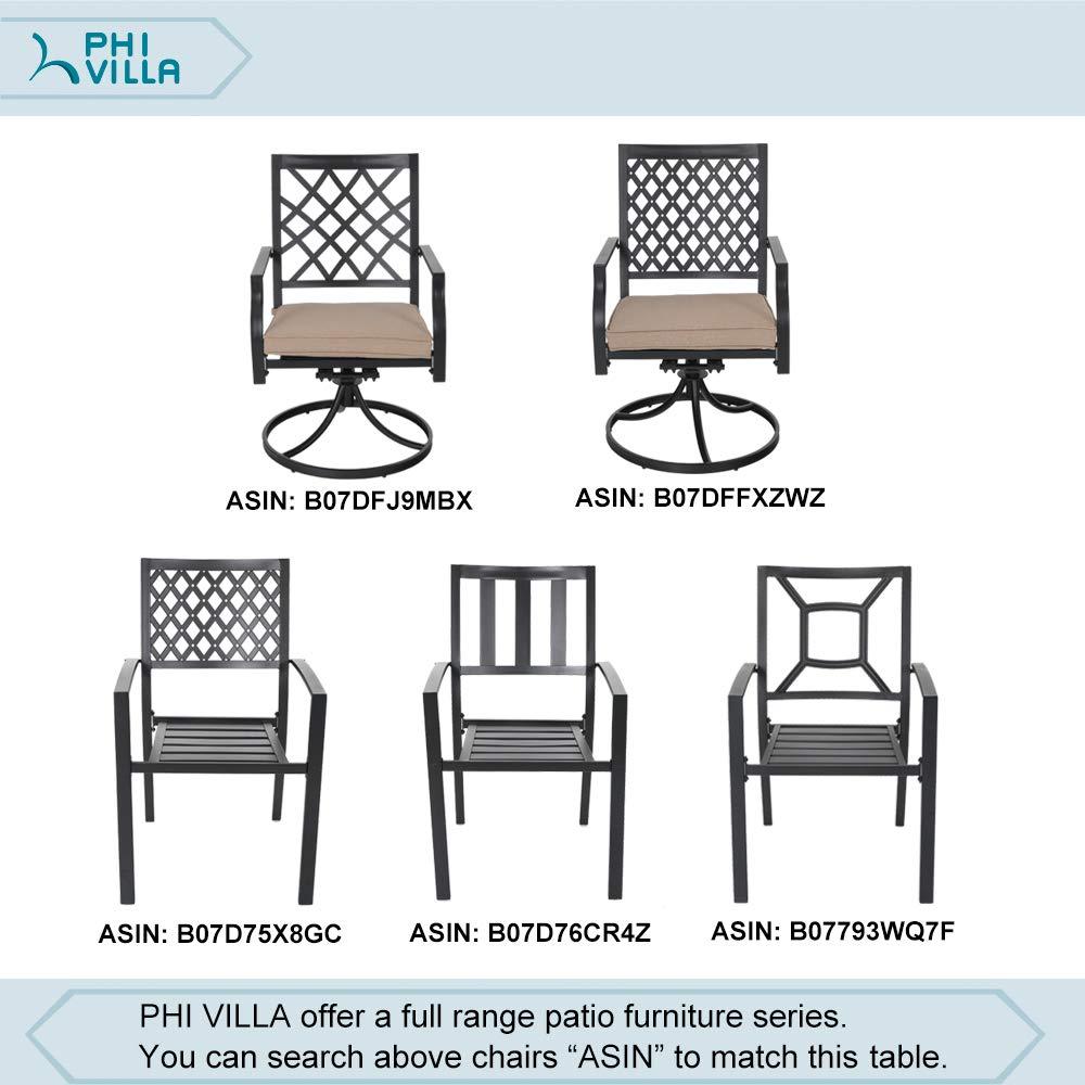 "PHI VILLA 37"" Outdoor Patio Bistro Metal Steel Slat Dining Table with Umbrella Hole"