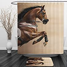 Vipsung Shower Curtain And Ground MatAnimal Decor Collection Chestnut Color Horse Jumping in a Hackamore Life Force Power and Honor Love Sign Print Brown CreamShower Curtain Set with Bath Mats Rugs