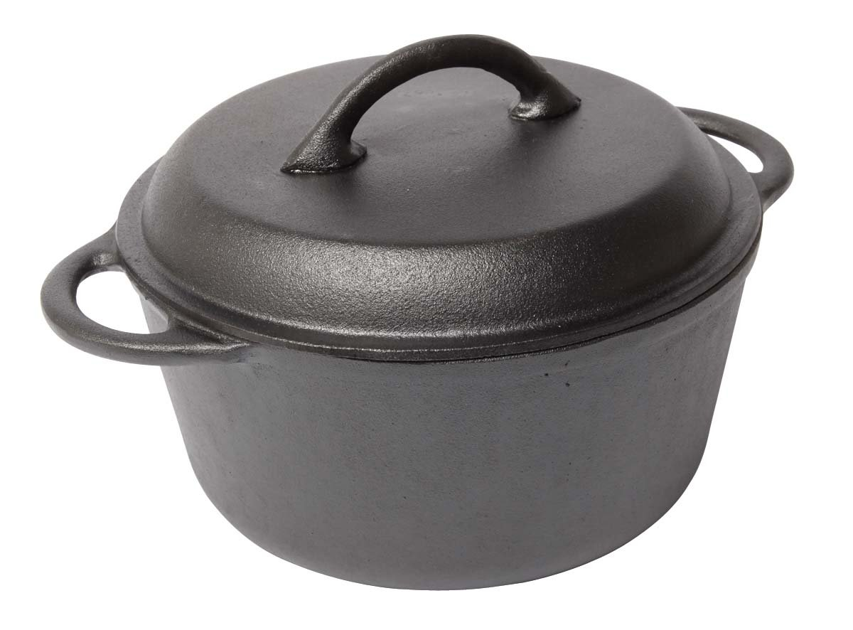 Country Cabin K46506 Pre-Seasoned Cast Iron Round Dutch Oven, 5-Quart
