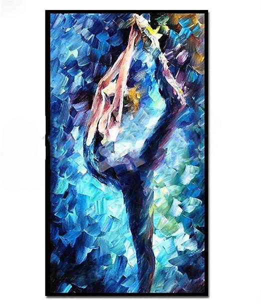 ZSLMX Pintado A Mano Abstracto Traje De Baile Azul Pintura ...