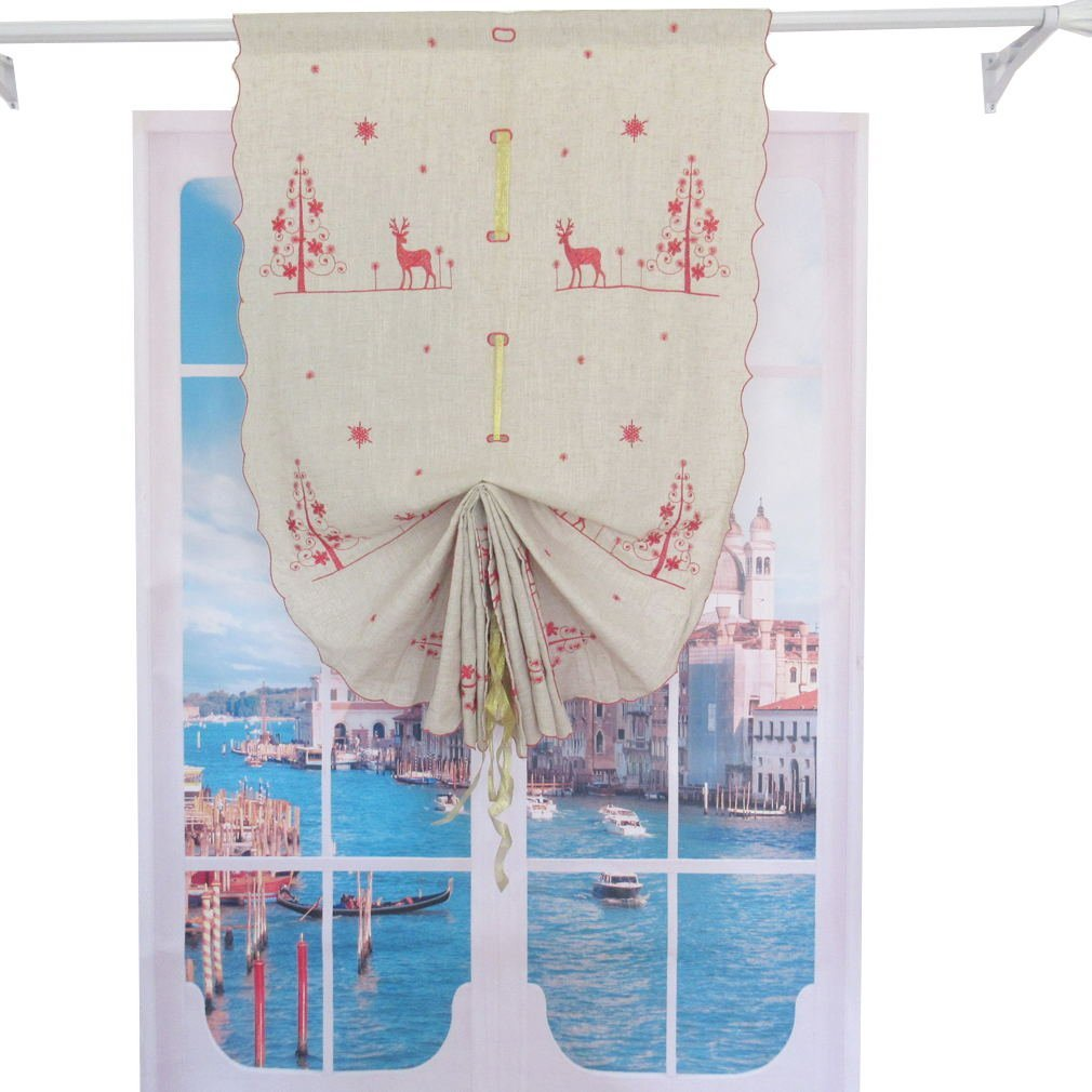 ZH.H 32-inch by 68-inch Christmas Red Elk Embroidered Linen Balloon Shades Tie-Up Home Decor Window Curtain