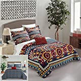Chic Home 4 Piece Le Haver REVERSIBLE Large Scale global tribal african inspired printed King Quilt Set Red