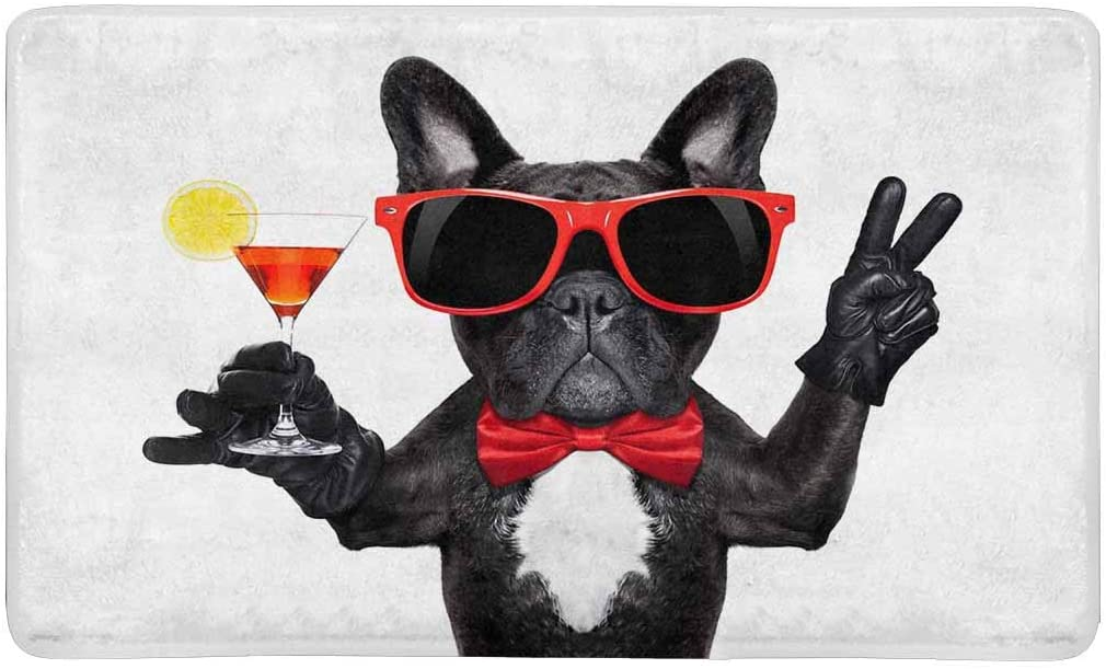 INTERESTPRINT Funny French Bulldog Dog Holding Martini Cocktail Doormat Anti-Slip Entrance Mat Floor Rug Indoor Outdoor Front Door Mats Home Decor, Rubber Backing Large 30 L x 18 W