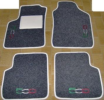 Tappeti per auto, set completo di Tappetini in Moquette su Misura Neri con Ricamo a Filo Tricolore SPEDIZIONE GRATIS SonCar