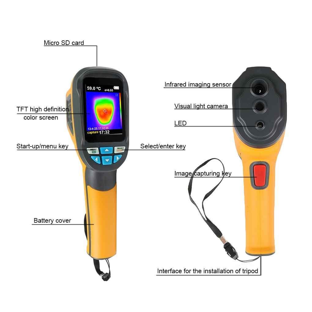 Elenxs 1024 Pixel portátil IR cámara de imagen térmica infrarroja digital cámara termográfica visual LCD Termómetro Resolución de la imagen del detector ...