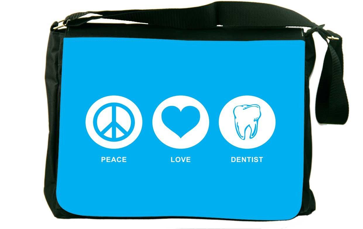 Rikki Knight Peace Love Dentist Sky Blue Messenger Bag School Bag